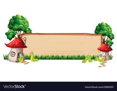 Mushroom house on wooden board vector image on VectorStock Photo Frame Wallpaper, Framed Wallpaper, Flower Background Wallpaper, Flower Backgrounds, Frame Border Design, Page Borders Design, Art Drawings For Kids, Art For Kids, Powerpoint Background Templates