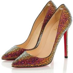 CHRISTIAN LOUBOUTIN Nappa Strass Pigalle 120 Pumps 38 Vulcano ❤ liked on Polyvore featuring shoes, pumps, pointed toe pumps, high heeled footwear, rainbow shoes, stiletto pumps and red stiletto pumps