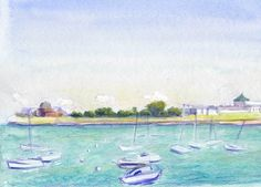 Lake Michigan, Chicago, 5x7 in, Watercolor Pencil and Gouache on Paper by Julie Kessler #chicago  #lakemichigan