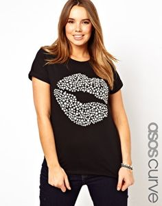 Image 1 of ASOS CURVE Exclusive T-Shirt With Lips Print