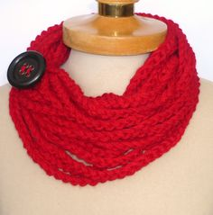 Infinity Scarf, Crochet Necklace,red  color,scarflette,chain red necklace ,gift under 20, Valentines gifts. $19.00, via Etsy.