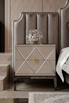 Perfect for those who have an eye on the classics but also enjoy the comforts of modern living. The Art Deco Inspired Italian Designer Lacquered Bedside Cabinet to suit both a classic or contemporary interior. Use as a bedside table as shown, modern side table or as a welcome in any hallway. Truly versatile. Classic Art Deco inspiration meets timeless glamour.