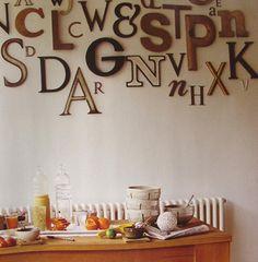 Текстовые послания в интерьерном декоре используют последние несколько лет, и этот тренд со временем становится лишь популярнее. Способов использования букв и текстов множество. Это могут быть отдельные буквы на полочке, имена или другие отдельные слова над кроватью или на подоконнике. Таблички в ступенях лестниц. Большие буквы на полу. В конце концов, это могут быть целые тексты на стенах.