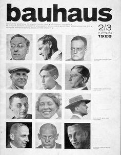 From the Bauhaus school in Dessau, 1928.  From the top: Wassily Kandinsky, Lyonel Feininger, Paul Klee, Hannes Meyer, Hinnerk Scheper, Josef Albers, Joost Schmidt, Gunta Stölzl, Hans Wittwer, Ernst Kallai, Oskar Schlemmer, Mart Stam