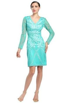 Walk in seduction and style in Sue Wong Flaunts sheer long sleeve V-neckline with fitted bodice richly decked with floral embroidery. This Sue Wong dress looks beautiful on girls who want to accentuate their curves. Turquoise Homecoming Dresses, Turquoise Dress, Simple Short Dresses, Evening Gowns Couture, Sue Wong Dresses, Affordable Prom Dresses, Sheer Fabrics, V Neck Dress, Special Occasion Dresses