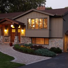 1000 images about ranch style home transformed to for House facade renovation ideas