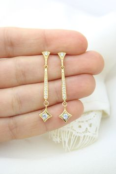 Gold Art Deco Bridal Earrings Nouveau Earring by ForTheMaids