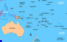 A map of the Oceania.