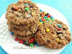 Monster Cookies - oats, chunky peanut butter, peanut butter chips, chocolate chips, and M&Ms.