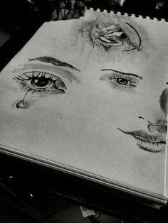 Aakhon ko teri aadat hai... tune dikhe na toh... inhe shikayat hai!! Eye sketch, emo sketch, artwork, eye drawing, dreaming