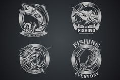 Check out 4 Fish Vector Dark and Light by weer on Creative Market