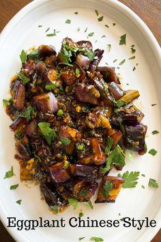 I love eggplant and any opportunity to prepare them is always welcome in my kitchen. I do love Chinese food too Chinese Eggplant Recipes, Eggplant Dishes, Vegan Eggplant Recipes, Vegetarian Recipes, Healthy Recipes, Easy Asian Recipes, Side Dish Recipes, Easy Dinner Recipes, Sushi Recipes