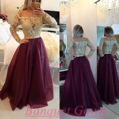2016 Long Sleeves Wine Red Prom Dresses Beaded Burgundy A-line Gorgeous Evening Gowns - Thumbnail 1