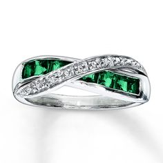 Wedding Ring Sets with Emeralds | Kay - Lab-Created Emerald Ring Diamond Accents Sterling Silver
