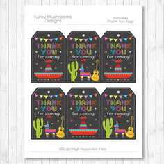 Mexican fiesta Thank You Tags Mexican fiesta thank you note Mexican Birthday, Mexican Party, Mexican Fiesta, Thank You Notes, Thank You Tags, Party Names, Fiesta Theme Party, Quinceanera, Name Tags