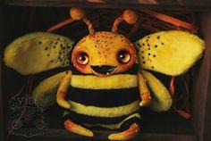 Bright Funny Bee -fluffy, soft toy handmade - OOAK - Art Doll - Polymer clay, faux fur - Funny Creepy Weird Odd Freak Cute Fun honey