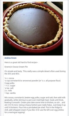 Chocolate Cream Pie (sub GF) Grandma's Chocolate Pie, Chocolate Pie Recipes, Old Fashioned Chocolate Pie, Homemade Chocolate Pie, Chocolate Meringue Pie, Chocolate Filling, Just Desserts, Delicious Desserts, Yummy Food