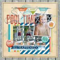 Pool Time digital scrapbook layout page by Chanell Rigterink