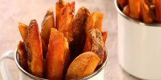 Baking your potatoes before frying them makes fries that are crispy on the outside and creamy on the inside. Russet Potatoes, Fried Potatoes, Vegan Gluten Free, Vegan Vegetarian, Food Network Canada, Peanut Oil, Oven Racks, Fries In The Oven, Recipe Using