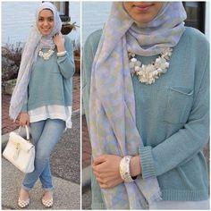sweater with shirt hijab, Stylish hijab looks by Hani Hulu