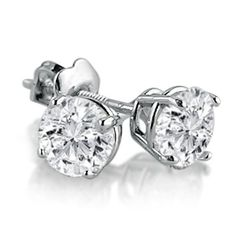 IGI Certified 14K White Gold Round Diamond Stud Earrings with Screw-Backs (3/4cttw) $529.99