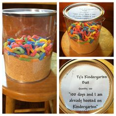 100th Day of School Project  1- paint bucket (We got ours from Michaels)  2 boxes of crushed Keebler graham crackers  1 big bag of Trolli gummy worms