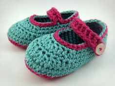 Crochet Baby Booties Aqua and Pink Baby Shoes by JennOzkan on Etsy