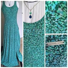 MICHAEL KORS Maxi Dress with front slit Beautiful color Palette for this maxi.  Tank style lots of stretch.  Dress up with white crop jacket and belt.  One of the pictures shows the very nice princess seams.  Live this dress, just not my size. Michael Kors Dresses Maxi