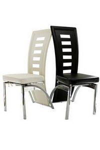 Este un scaun cu design simplu, robust, avand un spatar inalt si perforat,cu forme moderne. Cadrul din otel cromat sustine sezutul si spatarul din piele ecologica. Ne gasiti la adresa http://www.scauneonline.ro/scaune-bucatarie-buc-133 !