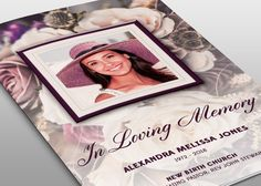 Purple Floral Funeral Program by loswl on Creative Market