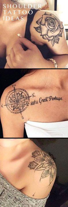 Trendy Cute Shoulder Tattoo Ideas for Women - Geometric Mandala Meaning Tattoo Ideen für Frauen - Black Rose idées de tatouage pour les femmes - Compass ideas de tatuajes para mujeres - www.MyBodiArt.com #TattoosforWomen