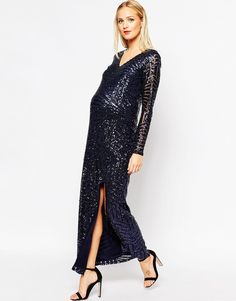 Image 4 of Club L Maternity Sequin Embellished Maxi Dress With Plunge Front