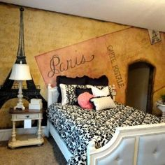Elegant adult themed bedroom inspired by Paris from getitcut.com