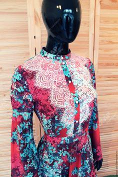 """Купить Платье в русском стиле """"Огненная птица"""" - разноцветный, цветочный, платье для вечеринки, платье на корпоратив"""