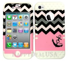 for Apple iPhone 4 4S Anchor Love Chevron Pink Cover w/WHITE Silicone Case 01