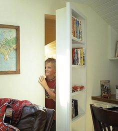 I love this concept of a door that has bookshelves built on one side. This has other interesting ideas also..if you want to take a look!