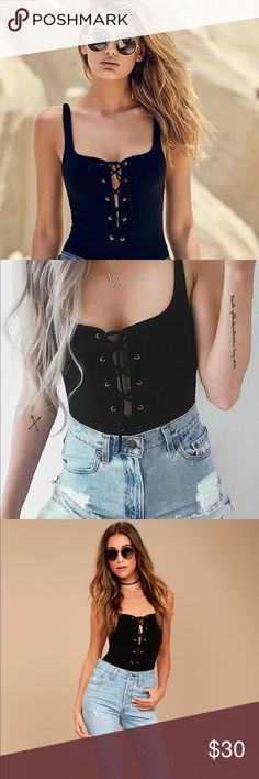 """Lulu's City of Angels Black Lace up Bodysuit Adorable Black lace up bodysuit from Lulu's. Worn once, it's a little too short for my torso and I'm 5'7"""" so keep that in mind. Otherwise it's so cute and comfortable! Great condition, like new. Lulu's Tops"""