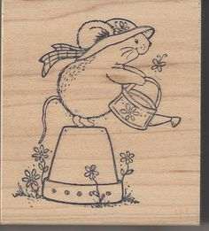 For Sale Now!! Such A Cute Little Mouse Watering The Flowers this stamp is new and uninked and perfect to make a summertime hello card to a friend!! This was made by Great Impressions I have more stamps and crafts available if your interested just click above to view my ebay listings and thanks for looking!!