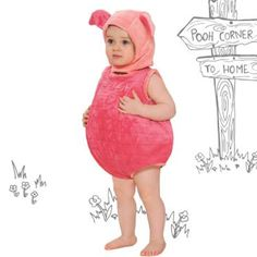 This two piece huggable Disney Piglet outfit features a soft padded romper suit with the name Piglet embroidered across the front and popper