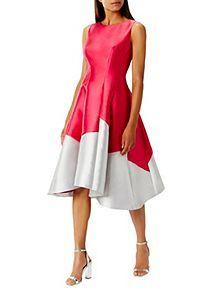 Karen Millen Soft Colourfull Colour Block Panel Belt Shift Party Dress   8-10