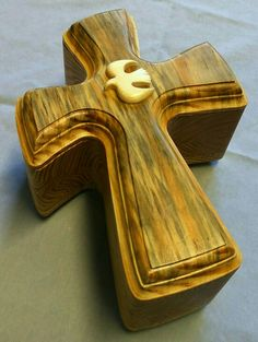 RARE Blue Pine Cross Box with sculpted dove