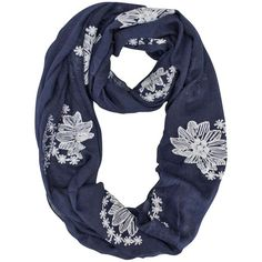 Navy Blue Silky Lightweight Circle Scarf With Floral Embroidery (375 MXN) ❤ liked on Polyvore featuring accessories, scarves, lightweight, navy blue, lightweight scarves, loop scarves, circle scarves, navy blue shawl and navy infinity scarf