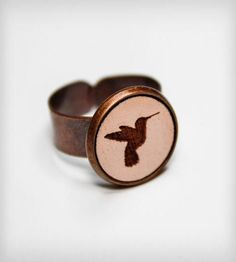Cameo Hummingbird Ring | Put a bird in your hand, with this adjustable copper ring, fea... | Rings