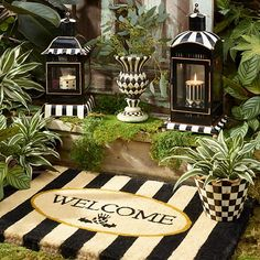 Awning Stripe Welcome Mat Whimsical Painted Furniture, Hand Painted Furniture, Funky Furniture, Candle Lanterns, Pillar Candles, Mackenzie Childs Furniture, Mackenzie Childs Inspired, Mckenzie And Childs, White Decor