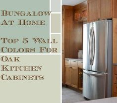 5 Top Wall Colors For Kitchens With Oak Cabinets: Benjamin Moore Sweet Spring, Pleasant Valley, Ancient Marble, Hazy Skies, Oyster Bay. (Greens and blues)