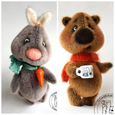 PDF Pattern - New! - 2in1: mini Bunny Hrum & mini Bear Bo - Artist Teddy Bear
