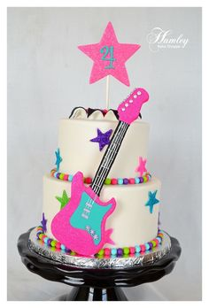 find pink rock and roll cakes | Cute cake for a cute little girl. The guitar was foam core with ...