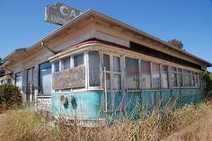 Abandoned train diner in Buellton, CA.