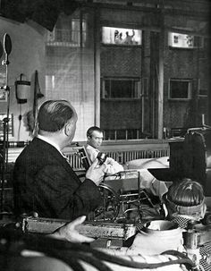 "James Stewart & Hitchcock on the set ""Rear WIndow"" (Hitchcock 1954)"