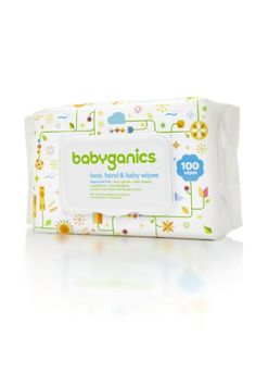 Babyganics Face, Hand & Baby Wipes, Fragrance Free. Can be used for anything, no chemicals so they won't stain clothing or bedding.